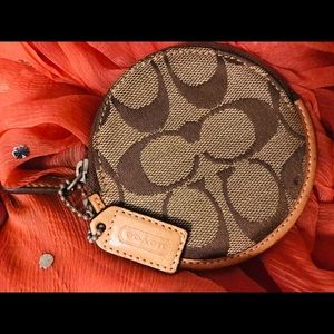 Authentic Coach Signature round coin purse. Small